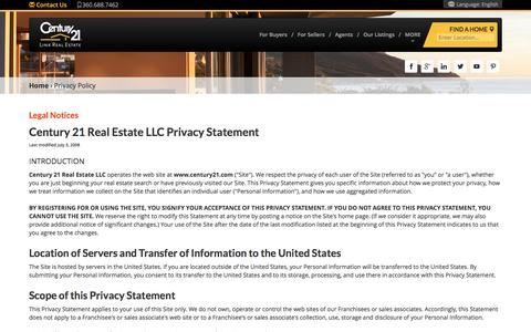 Screenshot of Privacy Page century21.com - Privacy Policy | CENTURY 21 - captured May 15, 2017