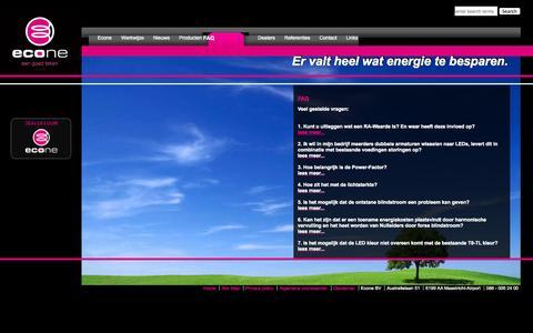 Screenshot of FAQ Page econe.nl - Econe - FAQ - captured Oct. 2, 2014