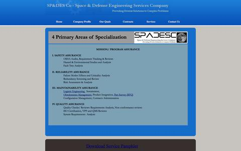 Screenshot of Services Page spadesco.com - Services- Space & Defense Engineering Services, LLC - captured Oct. 6, 2014