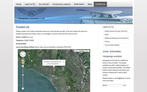 Screenshot of Contact Page flyhac.co.uk - Contact Us - Hampshire Aeroplane Club - captured Oct. 1, 2014
