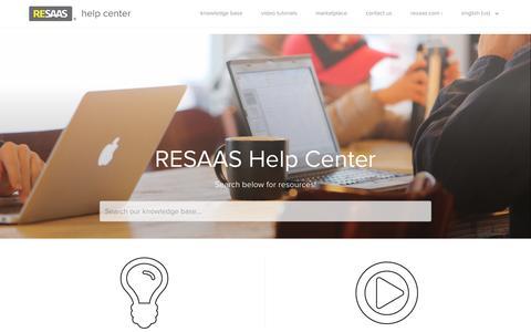 Screenshot of Support Page resaas.com - RESAAS Help Center - captured July 4, 2016