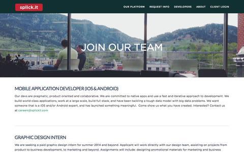 Screenshot of Jobs Page splickit.com - Jobs | Splick-It - captured Sept. 17, 2014
