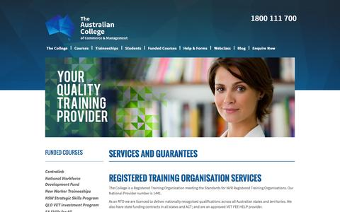 Screenshot of Services Page austcollege.edu.au - Services - captured Oct. 4, 2014