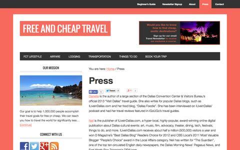 Screenshot of Press Page freeandcheaptravel.com - Press - captured Oct. 6, 2014