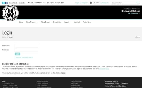 Screenshot of Login Page hairhousewarehouse.com.au - Professional Haircare Products Online | Shampoo, Conditioner, Hair Straighteners, Hair Dryers, Styling and Home Colouring Online - captured Oct. 19, 2016