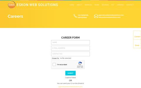 Screenshot of Jobs Page eskonwebsolutions.com - Contact Us For Website Designing & SEO In Mumbai India - captured Sept. 23, 2018