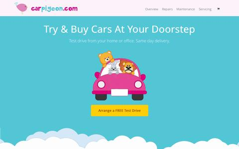 Screenshot of Home Page carpigeon.com - CarPigeon: The Way Car Shopping Should Be. Buy Online. Free Delivery. - captured Oct. 1, 2014