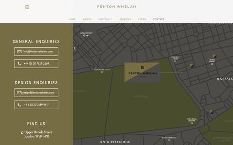 Screenshot of Contact Page fentonwhelan.com - Fenton Whelan - Contact - captured Oct. 10, 2018