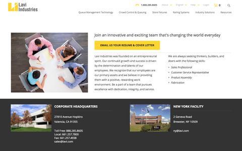 Screenshot of Jobs Page lavi.com - Careers at Lavi Industries - Lavi Industries - captured July 20, 2017