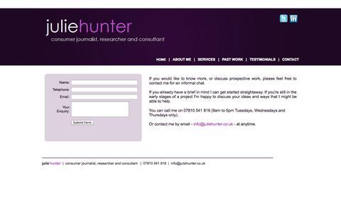 Screenshot of Contact Page juliehunter.co.uk - Julie Hunter - Consumer Journalist - Researcher - Consultant - captured Sept. 30, 2014