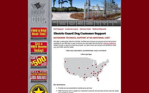 Screenshot of Support Page electricguarddog.com - 24/7 Customer Service & Support | Electric Guard Dog - captured Sept. 29, 2014