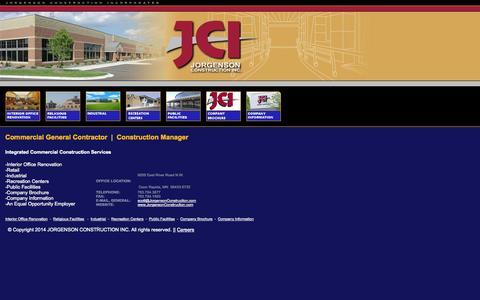 Screenshot of Home Page jorgensonconstruction.com - Jorgenson Construction Inc. - captured Oct. 6, 2014
