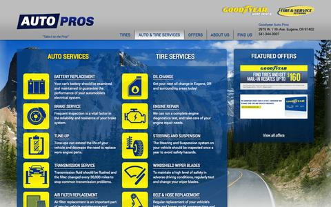 Screenshot of Services Page autopros.com - Auto Repair Services in Eugene, OR | Goodyear Auto Pros - captured Oct. 1, 2014
