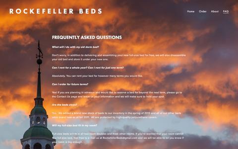 Screenshot of FAQ Page rockefellerbeds.com - FAQ — Rockefeller Beds - captured Jan. 12, 2016