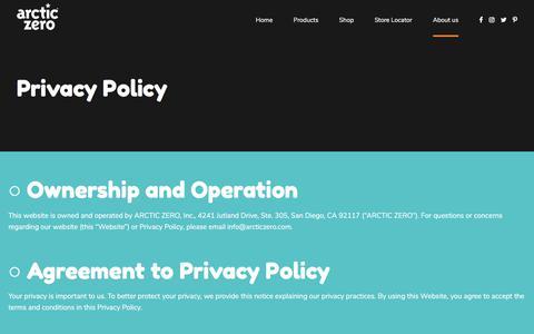 Screenshot of Terms Page arcticzero.com - Legal – ARCTIC ZERO - captured Aug. 5, 2018