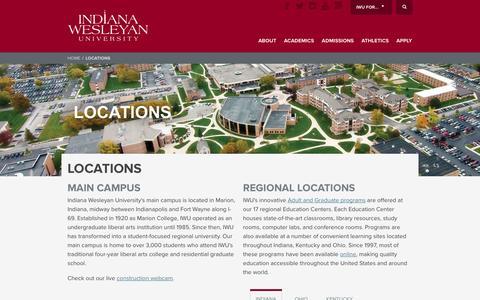 Screenshot of Locations Page indwes.edu - Locations | Indiana Wesleyan University - captured Sept. 19, 2014