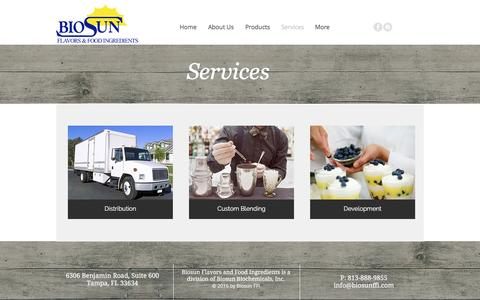 Screenshot of Services Page biosunffi.com - Biosun FFI | Flavors & Food Ingredients Supplier | Services - captured Nov. 22, 2016