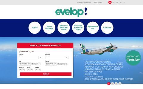 Screenshot of Home Page evelop.com - Ofertas Vuelos baratos Caribe - Viajes Caribe - Evelop - captured Sept. 19, 2014