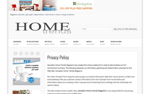 Screenshot of Privacy Page canadianhometrends.com - Privacy Policy - Home Trends Magazine - captured Sept. 24, 2014