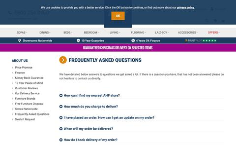 Screenshot of FAQ Page ahf.co.uk - FAQ | Frequently Asked Questions | AHF Furniture UK - captured Oct. 2, 2018
