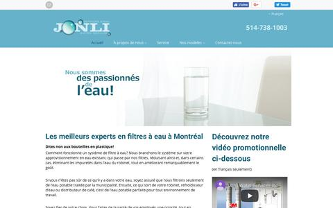 Screenshot of Home Page jonli.com - Jonli Water Services Inc   Unités de traitement de l'eau Montréal   À propos de votre eau - captured Nov. 14, 2018