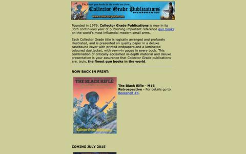 Screenshot of Home Page collectorgrade.com - Gun Books by Collector Grade Publications, Gun Book Publishers - captured June 21, 2015
