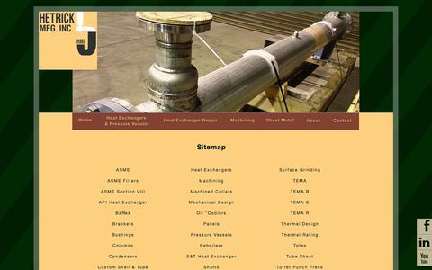 Screenshot of Site Map Page hetrickmfg.com - Hetrick Mfg., Inc. | Machining - captured Oct. 2, 2014