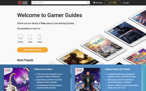 Screenshot of Home Page gamerguides.com - Gamer Guides - Walkthroughs and Gaming Guides by the Best Strategy Guide Authors - captured July 12, 2018