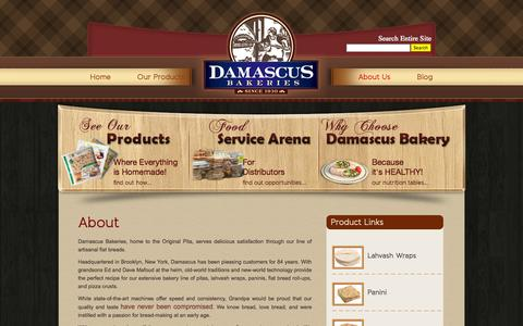 Screenshot of About Page damascusbakery.com - About | Artisan Bread | Damascus Bakeries - captured Sept. 30, 2014
