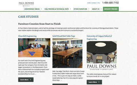Screenshot of Case Studies Page custom-conference-tables.com - Case Studies | Paul Downs Cabinetmakers - captured Sept. 27, 2018