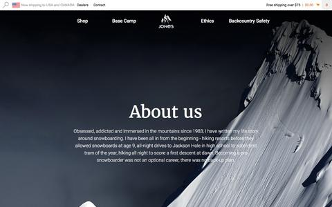 Screenshot of About Page jonessnowboards.com - Jones Snowboards - The Journey Is The Reward - About us - captured Aug. 7, 2016