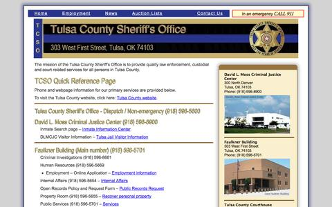 Screenshot of Contact Page Locations Page tcso.org - TCSO - Quick Reference - captured April 23, 2017