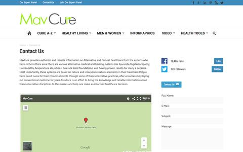 Screenshot of Contact Page mavcure.com - Contact Us | Mavcure.com - captured Sept. 23, 2014