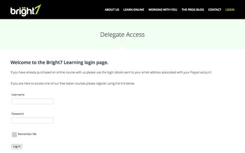 Screenshot of Login Page bright7.co.uk - Delegate Access   Bright 7Bright 7 - captured Sept. 30, 2014