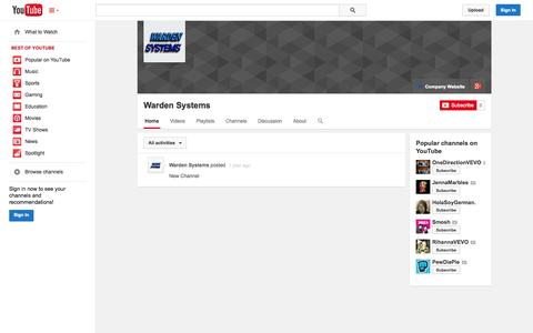 Screenshot of YouTube Page youtube.com - Warden Systems  - YouTube - captured Oct. 25, 2014