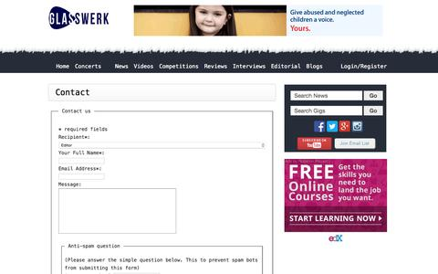 Screenshot of Contact Page glasswerk.co.uk - Magazine Homepage - Glasswerk.co.uk - captured July 21, 2015