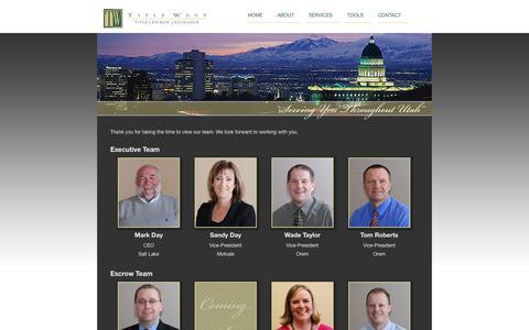 Screenshot of Team Page titlewest.com - Title West Team - Title West : Utah Title Services Company, 1031 Exchange - Title West Team - captured Oct. 9, 2014