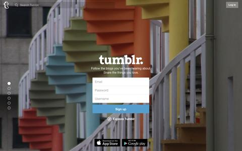 Screenshot of Home Page tumblr.com - Sign up | Tumblr - captured Jan. 11, 2016