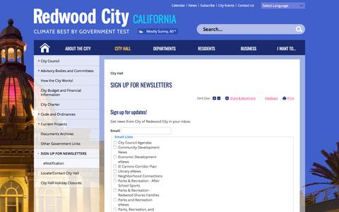 Screenshot of Signup Page redwoodcity.org - Sign up for Newsletters   City of Redwood City - captured Sept. 22, 2018