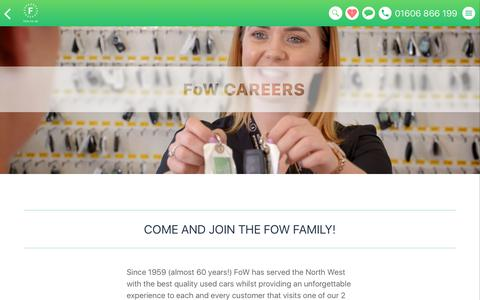 Screenshot of Jobs Page fow.co.uk - Come and join the FoW family! - captured Feb. 23, 2018