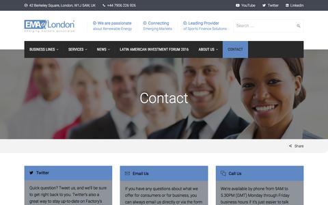 Screenshot of Contact Page emaoflondon.com - Contact - EMA of London - captured Oct. 9, 2016