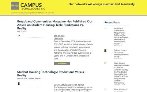 Screenshot of Press Page campustechnologies.com - News    Campus Technologies Inc (CTI)   Student Housing Internet - captured Aug. 12, 2019