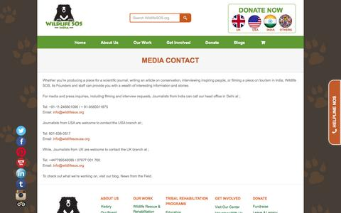 Screenshot of Press Page wildlifesos.org - Welcome to Wildlife SOS   Đ  Media Contact - captured Nov. 23, 2015