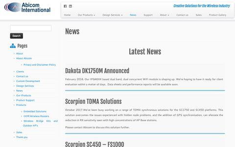 Screenshot of Press Page abicom.co.uk - News – Abicom International - captured Oct. 2, 2018