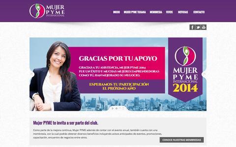 Screenshot of Home Page mujerpyme.com - Mujer PYME Internacional   - captured Oct. 6, 2014