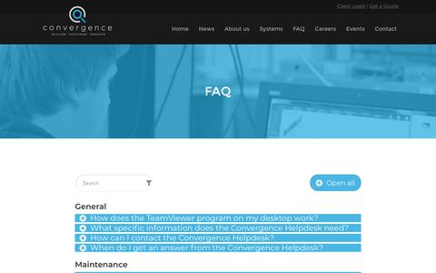 Screenshot of FAQ Page con-vergence.com - Service custom pilot - Convergence Industry B.V. - captured Sept. 29, 2018