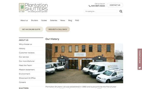 Screenshot of About Page plantation-shutters.co.uk - About Us | First UK Shutter Company | Plantation Shutters London - captured Aug. 9, 2017