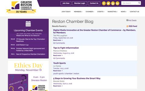 Screenshot of Blog restonchamber.org - Reston Chamber Blog - Greater Reston Chamber of Commerce, VA - captured Sept. 30, 2018