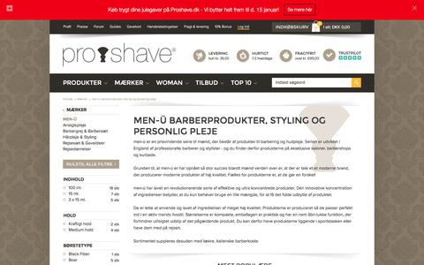 Screenshot of Menu Page proshave.dk - men-ü - Super lækre produkter til grooming og styling - captured Dec. 12, 2015