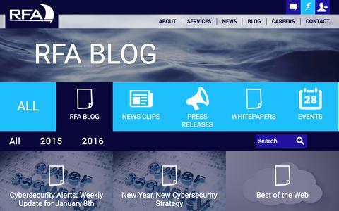 Screenshot of Blog rfa.com - RFA Blog | RFA | Hedge Fund Technology Providers - captured Jan. 11, 2016